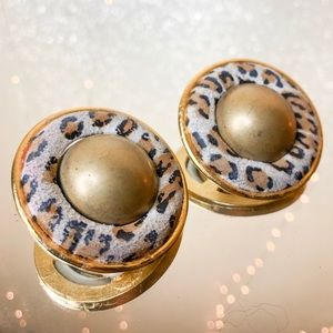 Vintage Leopard & Gold Statement Earrings